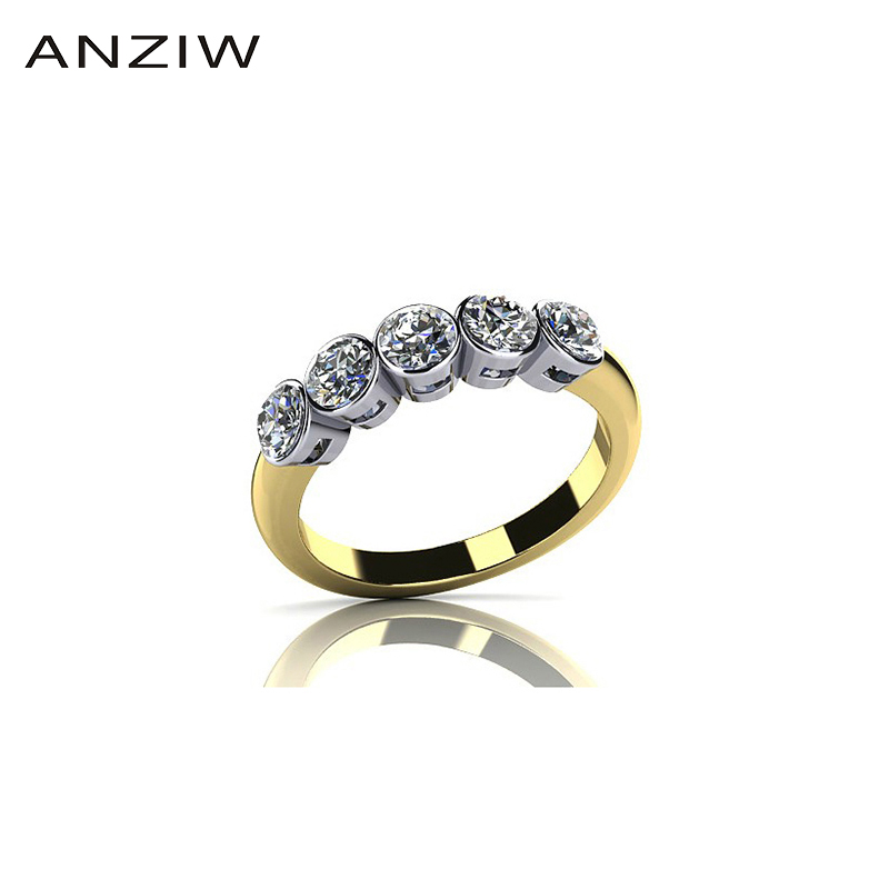 Jewelry Ring Sona-Band Gold-Color 925-Sterling-Silver Yellow Women Row Round Bijoux