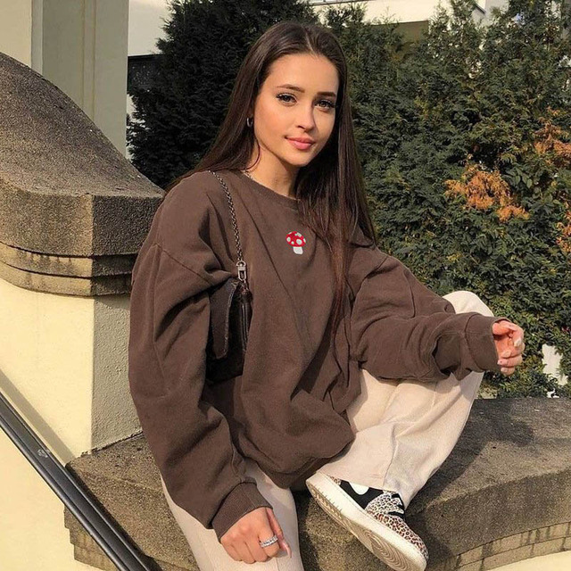 Brown Sweatshirts Y2K 2021 New Fashion Embroidery Mushroom Indie Aesthetic 90s Long Sleeve Hoodies Graphic Crewneck Clothes 3