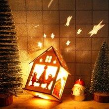 LED Light Wooden Dolls House Villa Christmas Ornaments Xmas Tree Hanging Decor L0915