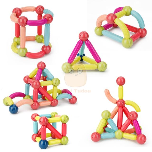 Kids Magnetic Constructor Block Designer Set Magnet Stick Rod Building Blocks Montessori Educational Toys For Children Boy Girl 5