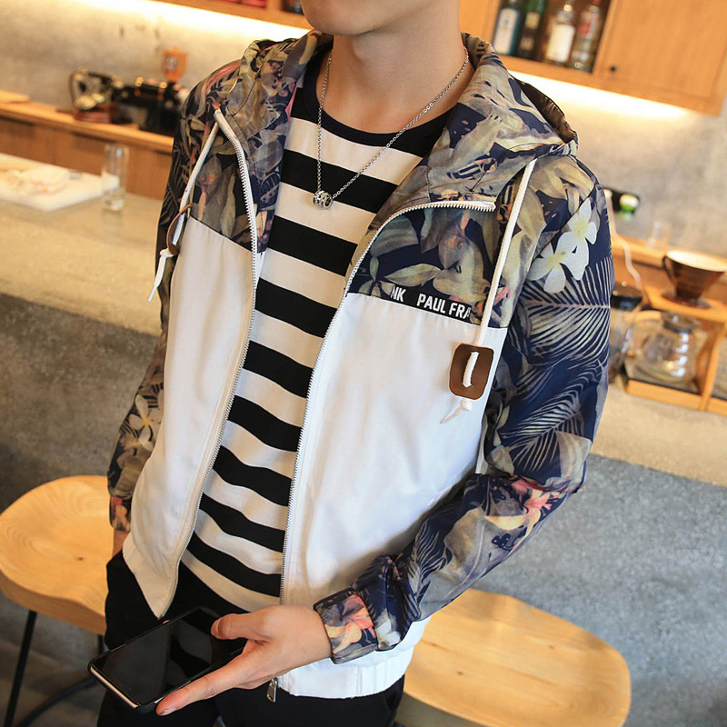 Mountainskin New Men's Jacket Autumn Jacket Mens Flower Patchwork Hooded Coat Slim Fit Mens Brand Clothing M-4XL SA766