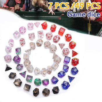 49Pcs Dice Set For Polyhedral DnD Mixed Color Dice RPG Dungeons And Dragons Role Playing Game Board Game Dice Set + Storage Bag