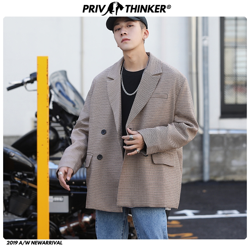 Privathinker Men Autumn Korean Streetwear Blazers Jacket 2020 Mens Harajuku Blazer Male Long Sleeve Blazer Loose Fashion Clothes