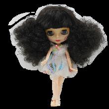 Fábrica 1/6 blyth boneca preto selvagem curl-up com franja corpo comum frete grátis 4 cores para os olhos adequado para diy