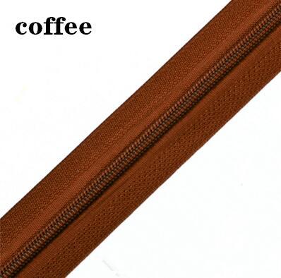 5 м длинная молния нейлон 3# пододеяльник подушка одеяло невидимая молния двойная молния черный и белый - Цвет: coffee