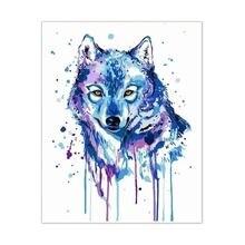 Наборы рисования по номерам blue wolf diy холст живопись маслом