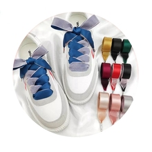 1 Pair Double-faced Silk Shoelaces Snow Yarn Satin Ribbon Lace Shoe laces Fashion Sneakers Shoelace 2CM Width 80/100/120cm