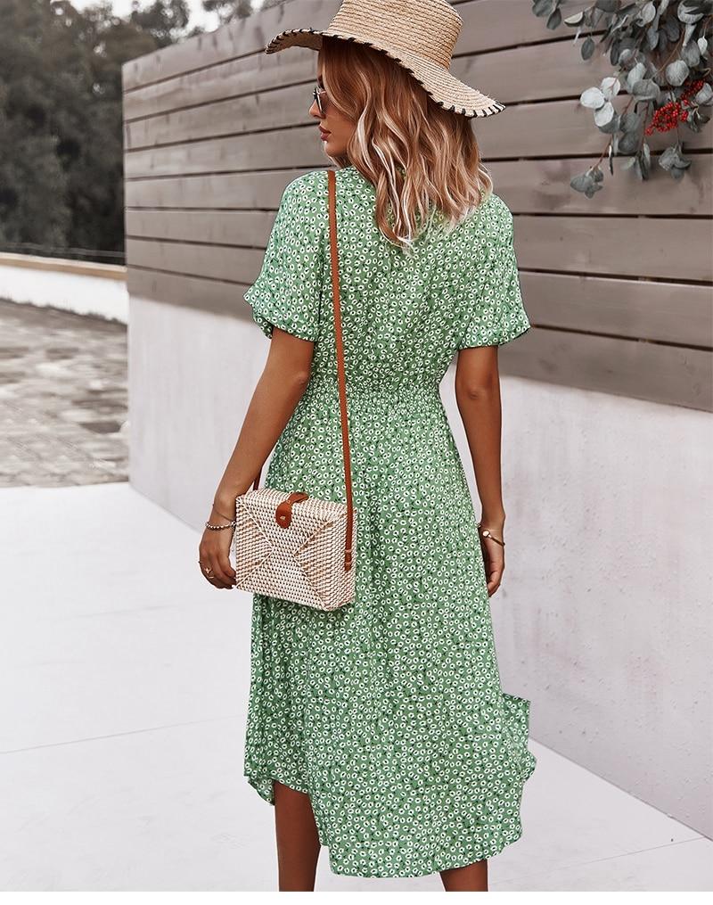 Casual Short Sleeve Button Floral Print Dress Halal City Mart