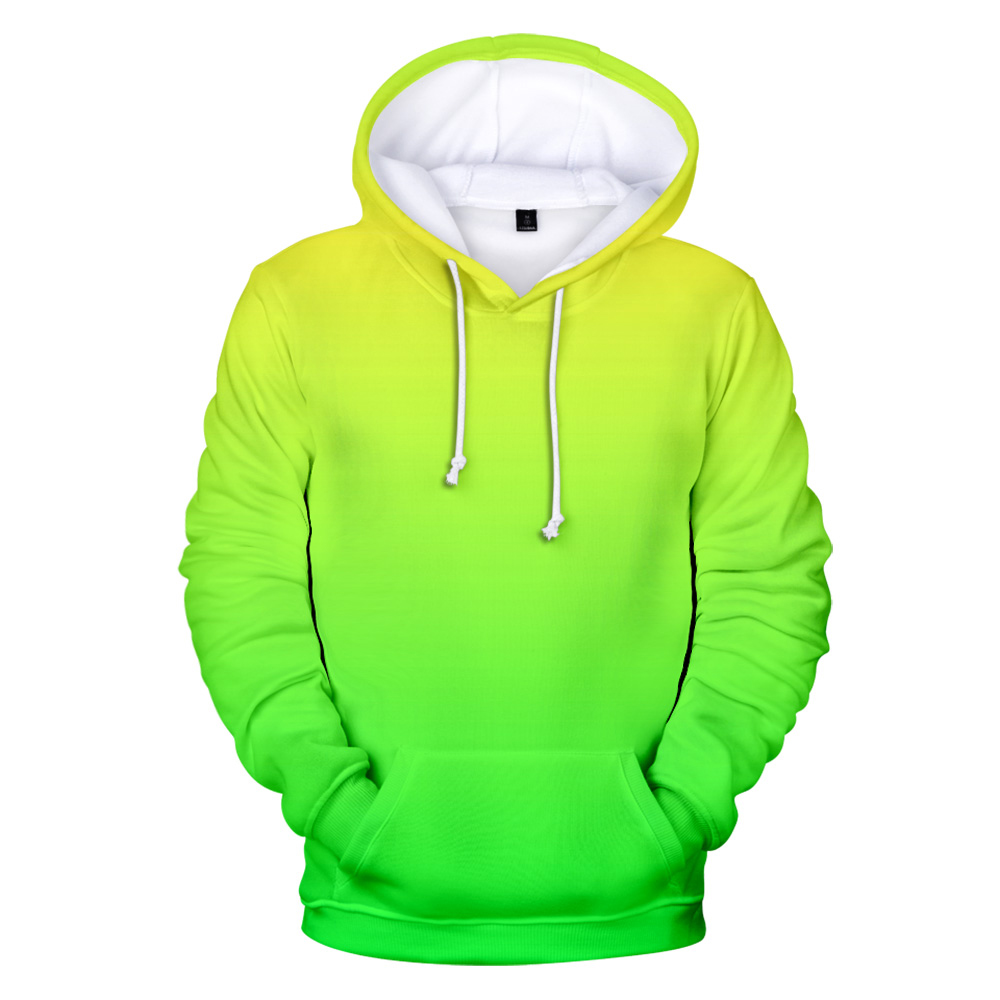 Green Hoodies Men's 2019 Sweatshirt Custom Colourful Gradient Hoodie Men/Women Solid Color Hoody Sportwear Neon Hoodie Men