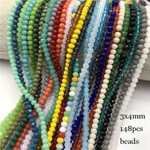 Contas de vidro facetados 2x 3mm/3x 4mm/4x6mm, 148 peças para fazer jóias, faça você mesmo pulseira do colar do sexo feminino jóias