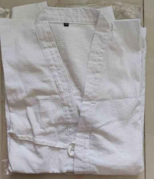 2 夏薄手のブルー/ホワイト純粋な綿日本剣道ハニカム制服袴居合道、合気道武道スーツ