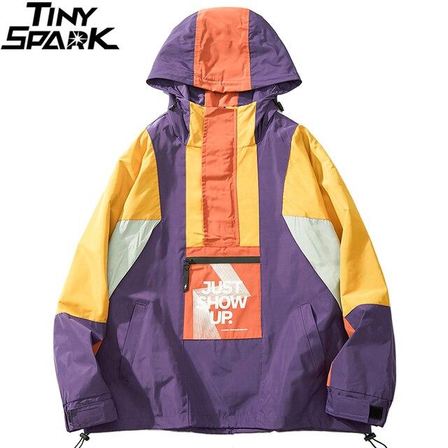 2019 גברים Harajuku היפ הופ Jacket Streetwear צבע בלוק סלעית מעיל רוח מעיל רטרו טלאים Zip מסלול מעיל סתיו