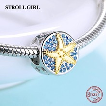 925 Sterling Silver charms beads With Zirconia lovely starfish fit authentic Pandora bracelet fashion jewelry For Women gift