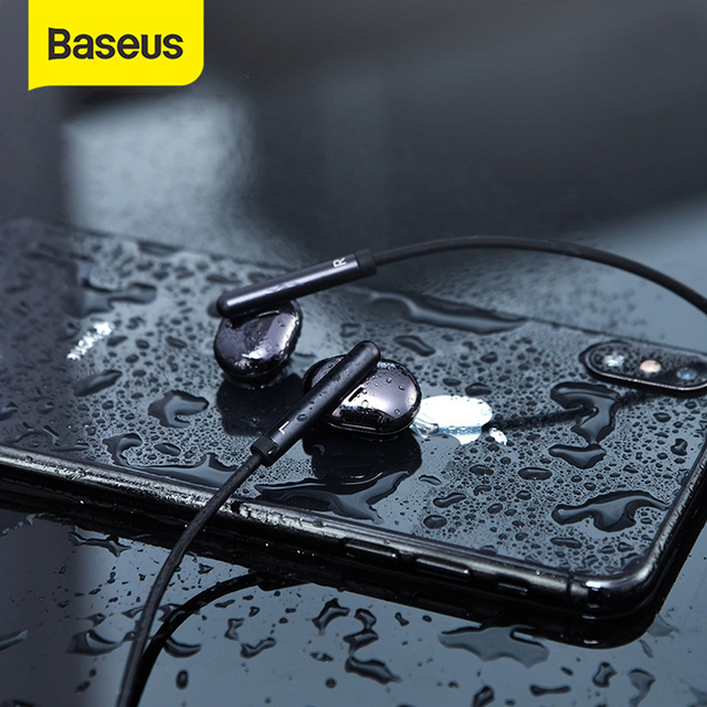 Baseus S30 بلوتوث سماعة لاسلكية خفيفة الوزن سماعات أذن رياضية IPX5 مقاوم للماء ثلاثية الأبعاد ستيريو باس سماعة مع HD Mic للهاتف