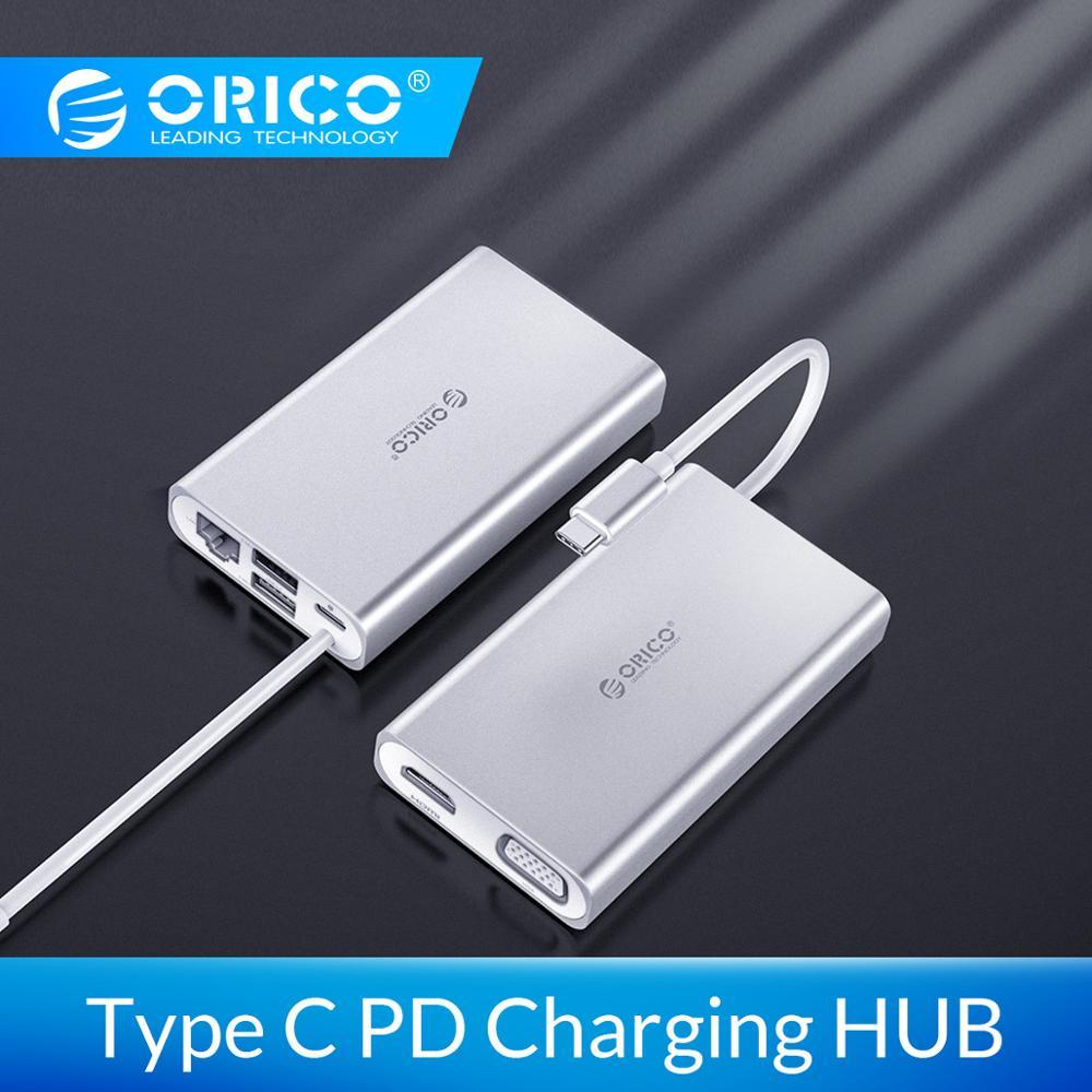 ORICO 6-in-Tipo C Hub Liga De Alumínio Laptop Docking Stations 1 4K Rede de Vídeo HD RJ45 conversor USB HUB para MacBook Pro
