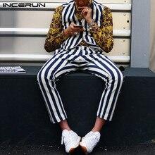 Casual Men Streetwear 2pieces-7 Suit Tank-Tops Leisure-Pants Striped-Sets Fashion INCERUN