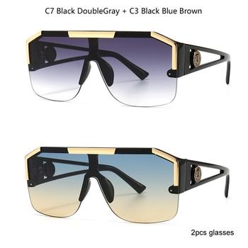 2021 New Fashion Big Square Sunglasses Men Style Gradient Trendy Driving Retro Brand Design Sun Glasses UV400 Wholesale Dropship - C7 andC3