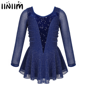 Kids Girls Shiny Stretchy Velvet Roller Ice Skating Dress Figure Tutu Dance Wear Gymnastics Leotard Costumes - discount item  32% OFF Stage & Dance Wear