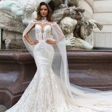 2021 Mermaid Wedding Gowns With Wrap Sleeveless Illusion Dubai Arabic Sexy Sheer Back Bridal Princess Dresses Lace Appliqued