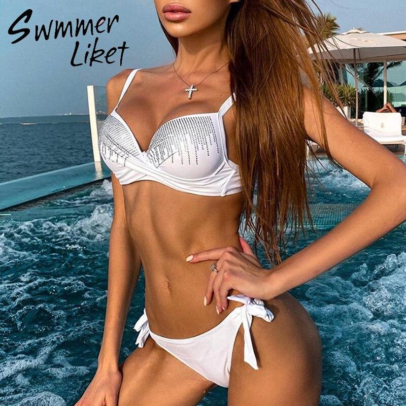 Push Up Bikini Set High Cut Bathing Suit Knot Swimwear Women Rhinestone Bikini 2020 Fashion Swimsuit Female Summer Bathers New