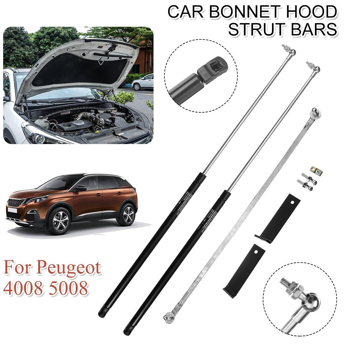 2Pcs Car Front Engine Cover Bonnet Hood Shock Lift Strut Struts Bar Support Rod Arm Gas Spring For Peugeot 3008 5008 2017 2018