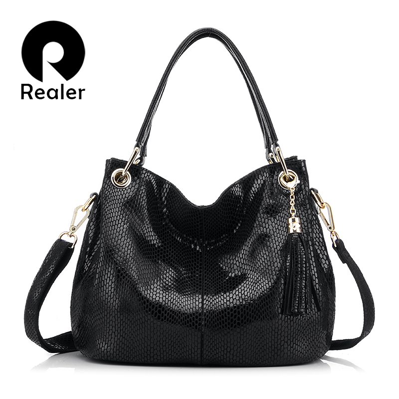 Realer Woman Handbags Genuine Leather Bag Female Hobos Shoulder Crossbody Bags High Quality Leather Totes Women Messenger Bags