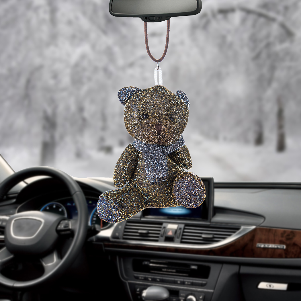 Automobiles Rear View Mirror Styling Car Pendant Sparkling Cute Scarf Bear Charms Hanging Hoiday Gifts Home Decoration Ornaments