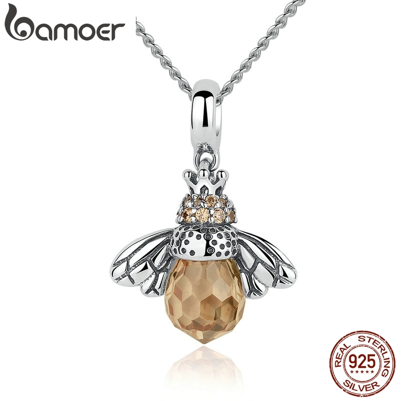 [Coupon $15 OFF $3] BAMOER 925 Sterling Silver Lovely Orange Bee Animal Pendants Necklace for Women Fine Jewelry CC035