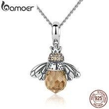 Женское ожерелье с подвеской BAMOER, из стерлингового серебра 925 пробы с милой оранжевой Пчелкой, ювелирные украшения CC035