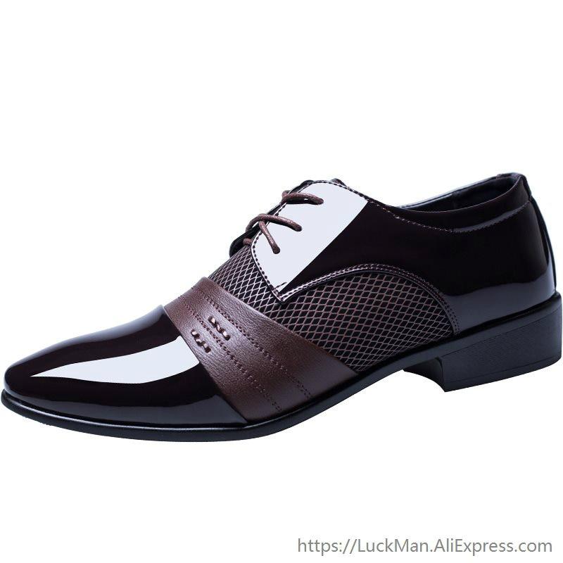 2019 Spring Autumn Business Shoes Plus Size EUR 47 Oxford Patent  Leather Men's Shoes Lace-up Flats Shoes Black LMS002