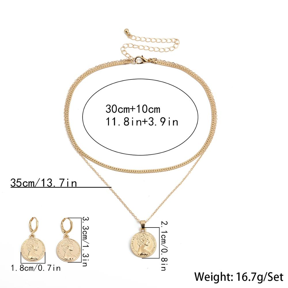IngeSight.Z Fashion Double Layered Carved Coin Portrait Choker Necklace Collar Simple Gold Color Necklaces Earrings Jewelry Set