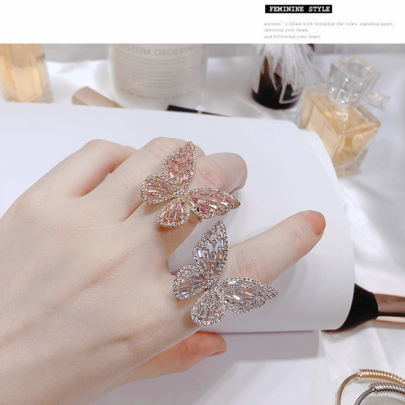 2019 New Luxury Butterfly Wings Zircon Rings For Women Gold Silver Color Engagement Wedding Party Finger Ring Fashion Jewelry