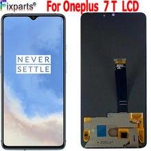 Süper AMOLED LCD ekran OnePlus 7T LCD ekran ekran dokunmatik Panel sayısallaştırıcı OnePlus 7 + 7T yeni yedek parça bir artı 7T LCD