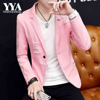Casual Men Blazer Autumn New Slim Single Button Frayed Denim Jacket Student Stage Clothes Personality Pink Work Cowboy Coat 3XL