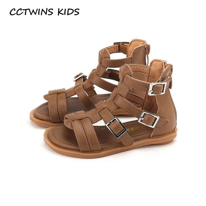CCTWINS Kids Shoes 2020 Summer Children Pu Leather Flat Baby Brand Black Gladiator Sandals Toddler Fashion Shoes Girls BG188