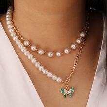 Жемчужное многослойное ожерелье с бабочкой простая цепочка до
