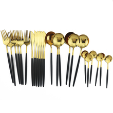 24Pcs/Set Colorful Dinnerware Set 304 Stainless Steel Cutlery Set Kitchen Mirror Gold Tableware Set Knife Fork Spoon Dinner Set