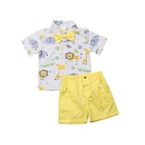 Emmababy moda lato maluch dzieci Baby Boy ubrania Bowtie Gentleman Cartoon T-Shirt żółte spodenki Boys Baby stroje