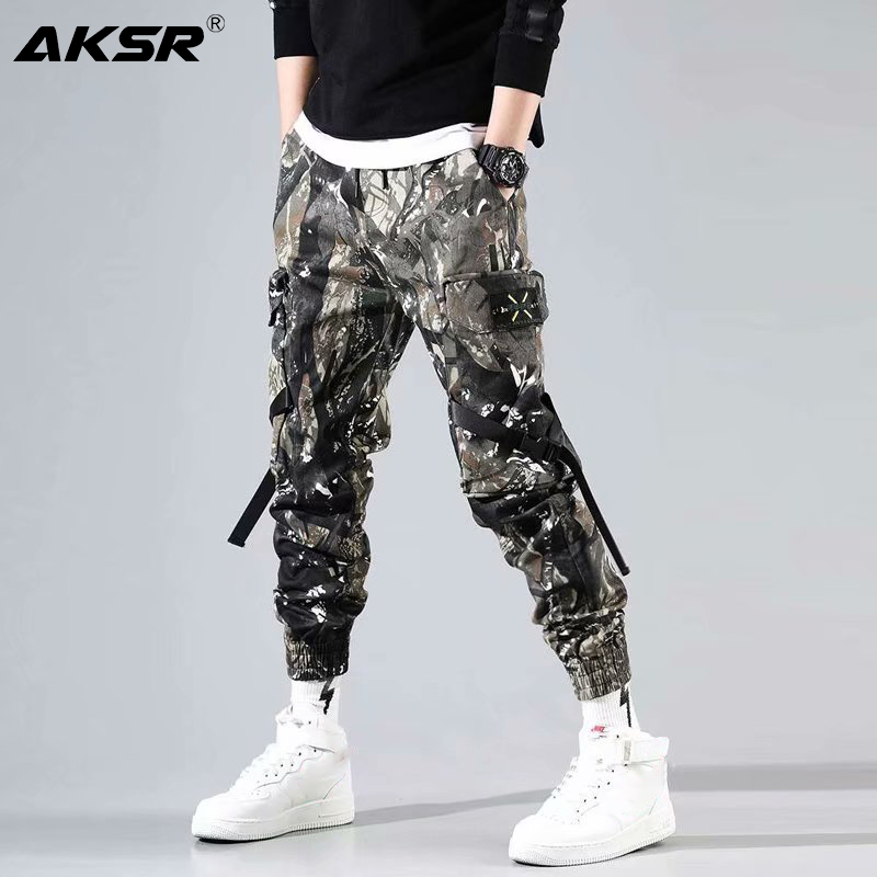 AKSR Men's military joggers Streetwear Pants Hip Hop Sweatpants Joggers Trousers Tactical Mens Pants Cargo Harem Pants Men