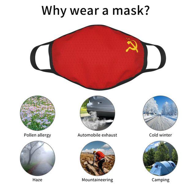Многоразовая маска для лица с изображением СССР, советского флага 6