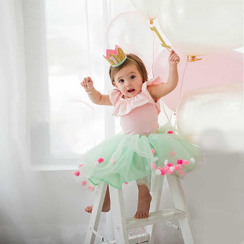 Lucu Perak Birthday Crown Topi Pesta Anak-anak Gadis Anak Laki-laki Satu Tahun Putri Crown Headband Baby Shower 1st Ulang Tahun Dekorasi Pesta supply