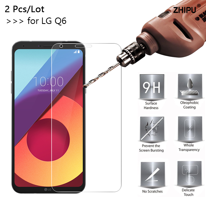 2Pcs 2.5D 0.26mm 9H Premium Tempered Glass For LG Q6 Screen Protector Toughened Protective Film For LG Q6 Alpha