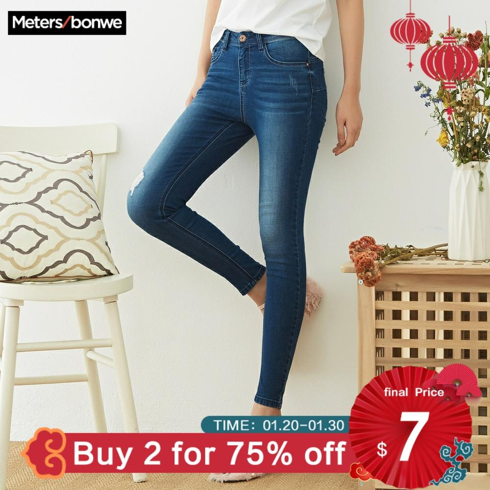 Metersbonwe Slim Jeans For Women Jeans Hole Design Woman Blue Denim Pencil Pants High Quality Stretch Waist Women Jeans