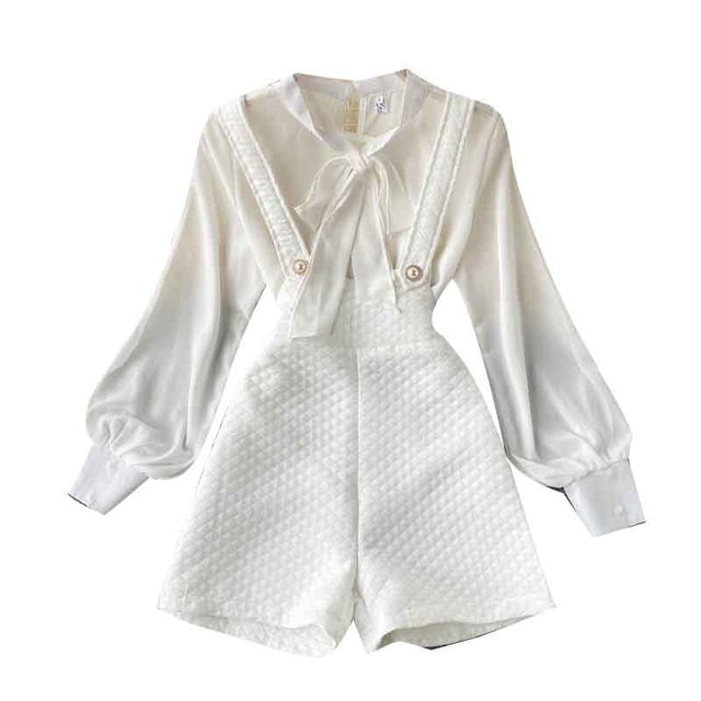 Autumn 2021 New Women's Long Sleeve Shirt Chiffon Pure White Versatile Backpack Pants Fashionable Two-piece Set Office Attire 5