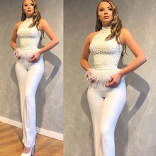 jumpsuit prom dresses white 2020 pearls beading feather pant