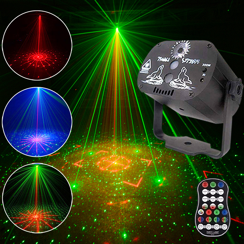 60 Patterns Mini Indoor DJ LED Effect Laser Stage Light Remote Control Effect Light For Business Lighting KTV  Bar Party Lamp