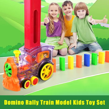 Rally Electronic Train Model Toys with 80Pcs Domino Cards Girls Boys Children Kids Gift QP2