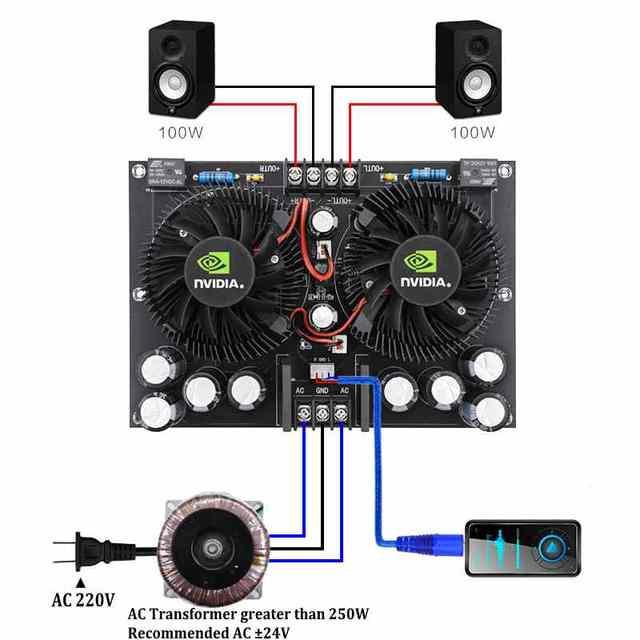 Amplificador Digital estéreo de dos canales, alta potencia, 100W + 100W, TDA7293, XH A132 de audio para cine en casa