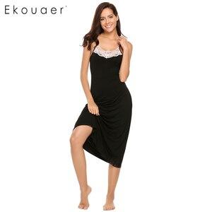 Image 4 - Ekouaer Sexy Lingerie Night Dress Sleepwear Women Sleeveless Lace Trim Spaghetti Strap Nightie Nightgown Female Sleep Nightdress
