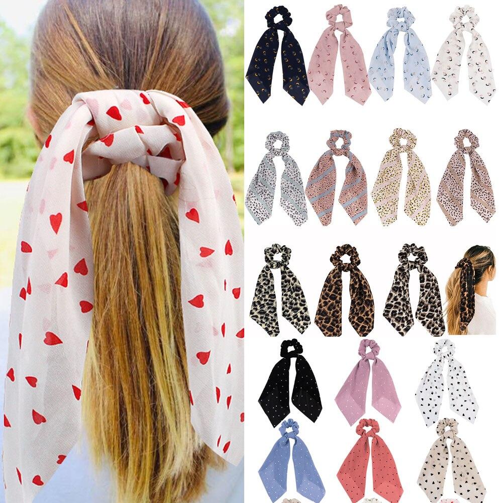 Fashion Leopard Moon Small Dots Print Scrunchie Chiffon Elastic Hair Bow Scarf Women Girls Cute Sweet Hair Accessories Headwear